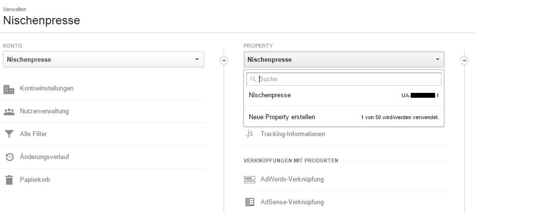 Google Analytics - Verwalten - Property - Neue Property erstellen