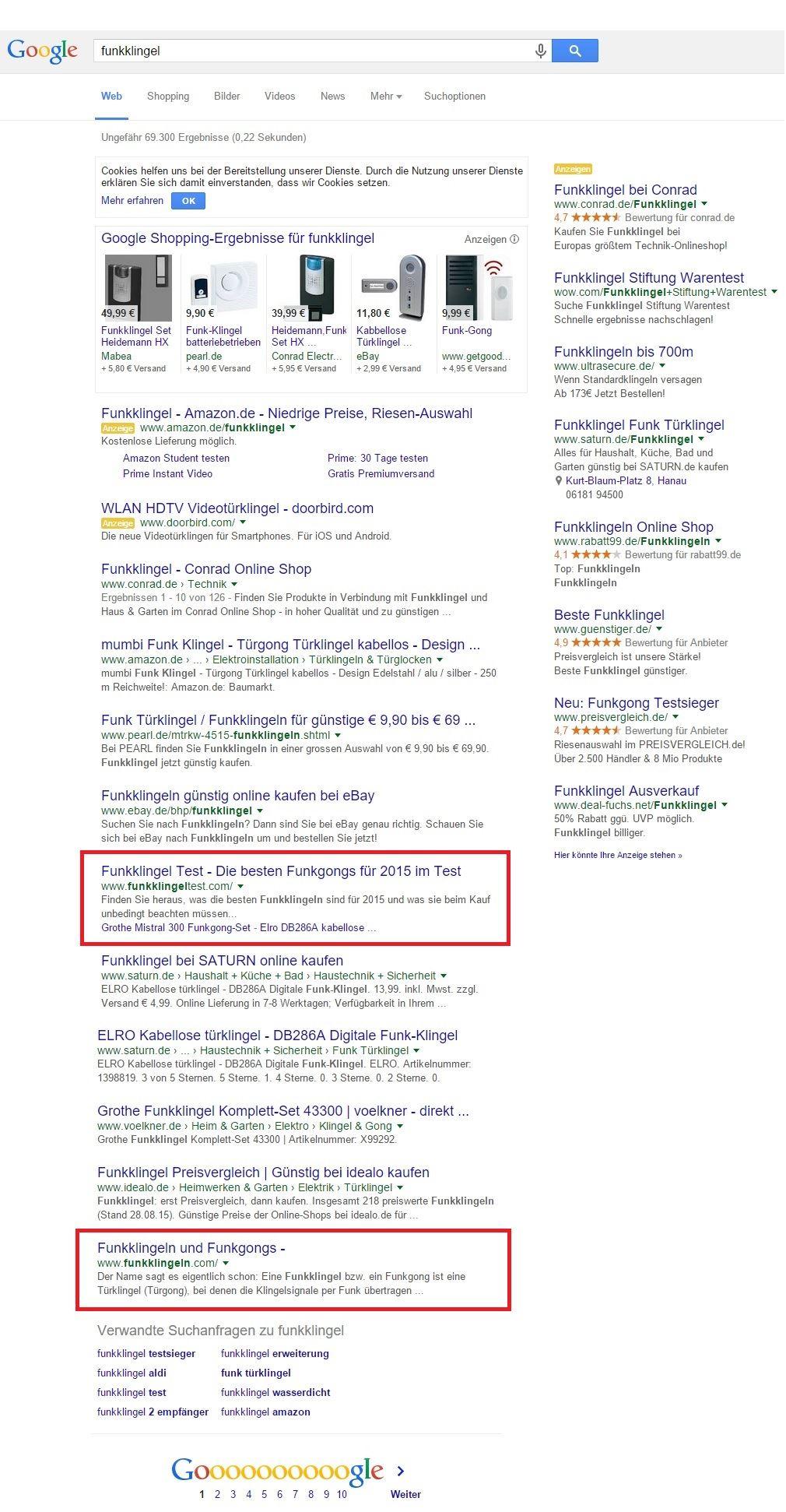 Google Suchergebnisse analysieren