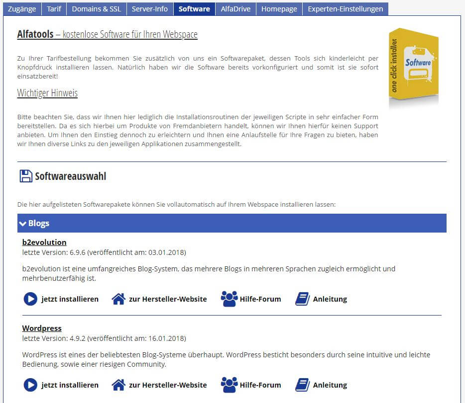Alfahosting - Software - Blogs - WordPress - Jetzt installieren