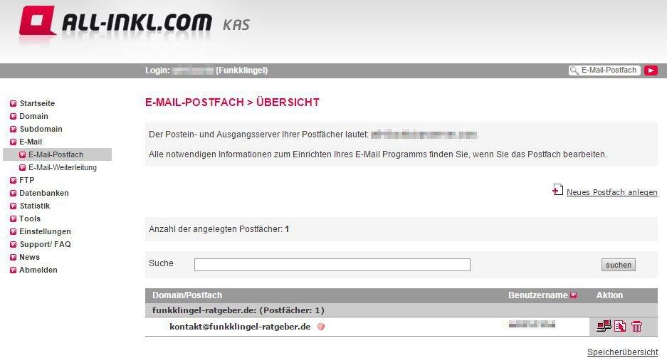 All Inkl KAS - E-Mail-Postfach - Übersicht mit E-Mail Adresse