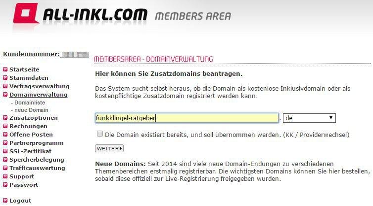 All Inkl - Members Area - Domainverwaltung - neue Domain