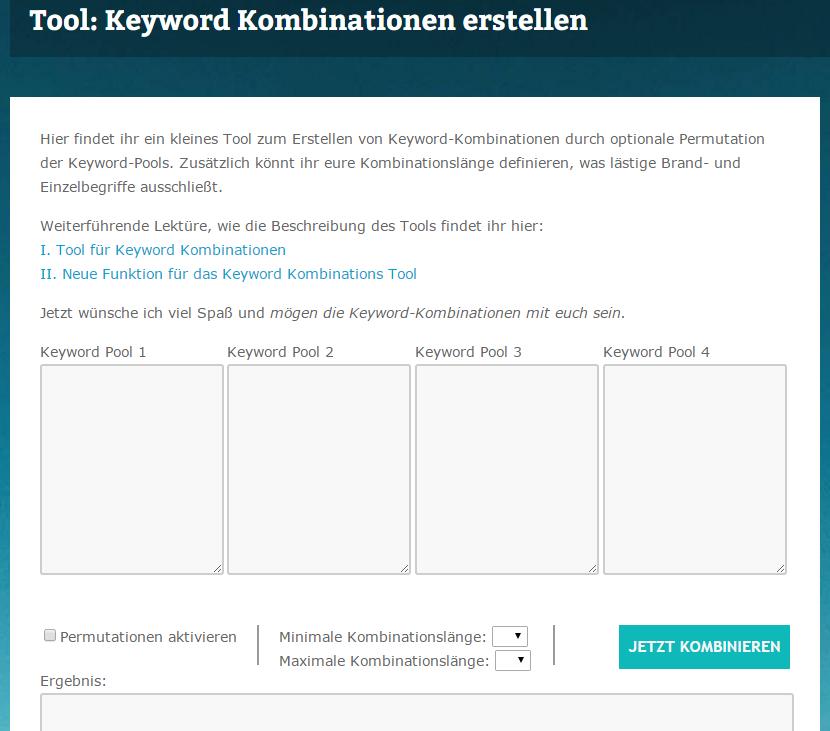 Keyword Kombination Tool