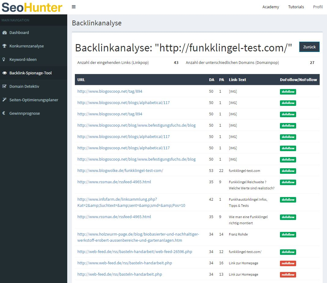 SEOHunter Backlink Spionage Tool