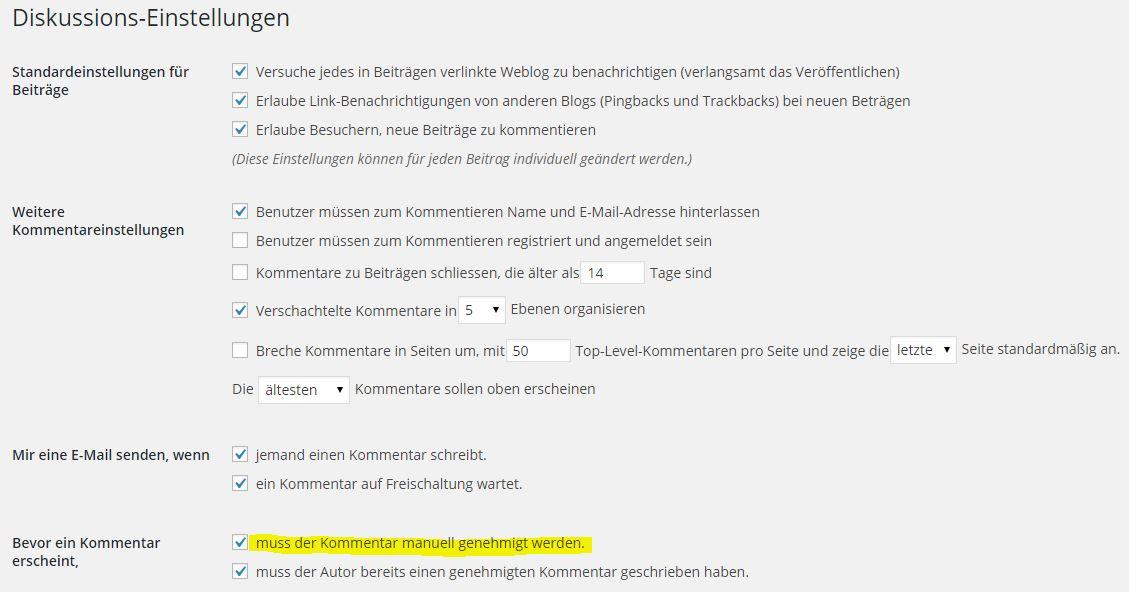 Wordpress - Einstellungen - Diskussions-Einstellungen - Mir eine E-Mail senden, wenn