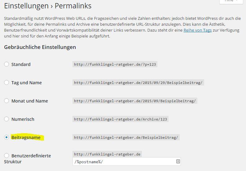 Wordpress - Einstellungen - Permalinks - Beitragsname