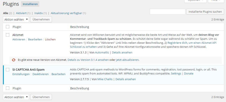 Wordpress - Plugins - löschen