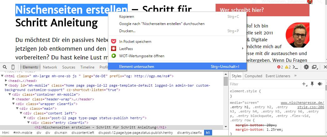 Chrome Browser - Element untersuchen