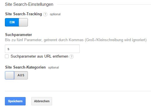 Google Analytics - Site Search Einstellungen