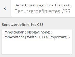 MHThemes - Anpassen - Benutzerdefiniertes CSS