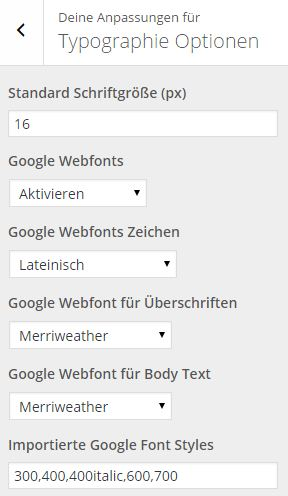 MHThemes - Typographie Optionen