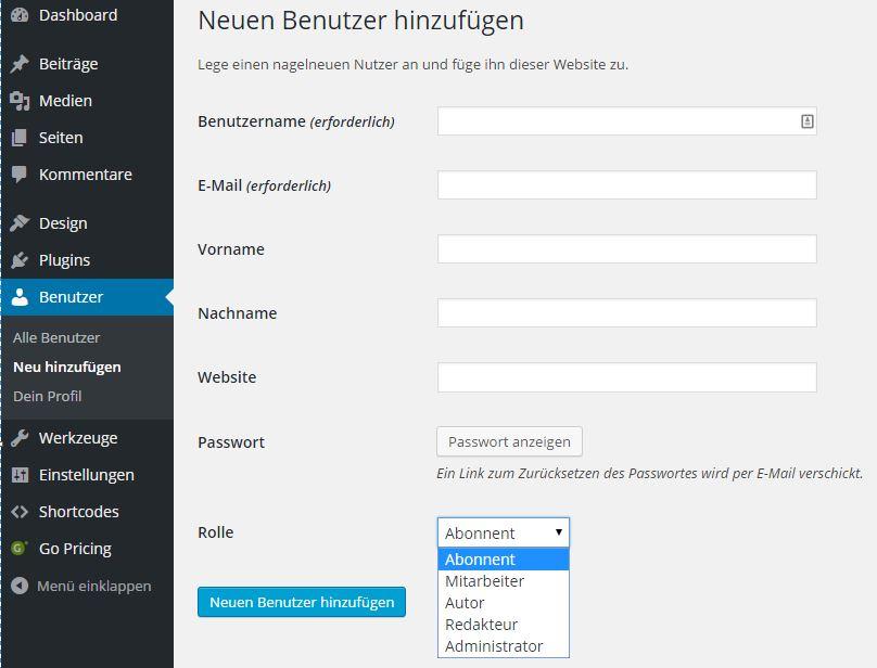 Wordpress - Benutzer - Neuen Benutzer hinzufügen