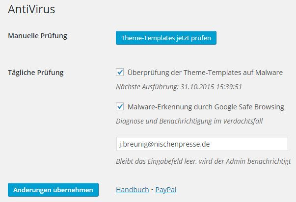 Wordpress - Plugin - AntiVirus - Einstellunge