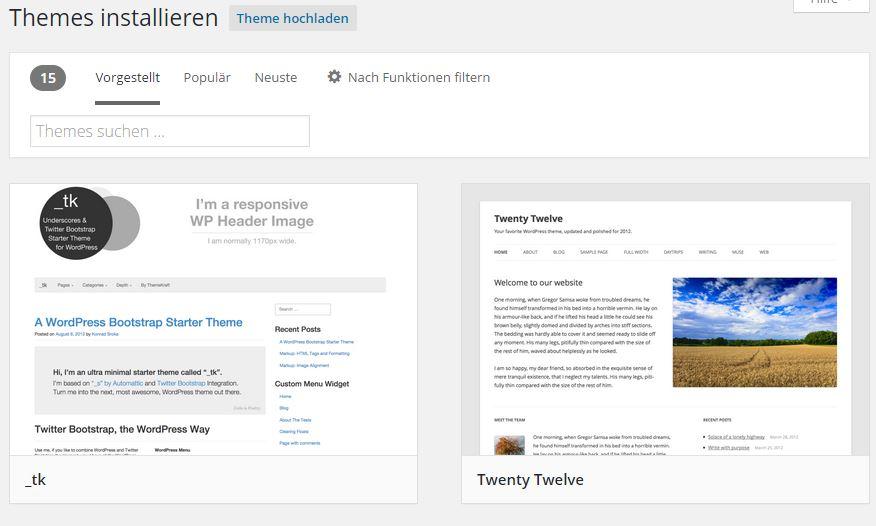Wordpress Theme-Verzeichnis - Themes installieren
