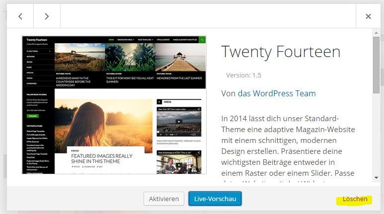 Wordpress Theme im Backend löschen