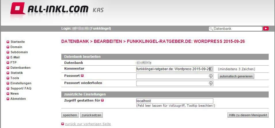 All Inkl - KAS - Datenbank - Bearbeiten - Zugriff gestattet für - localhost