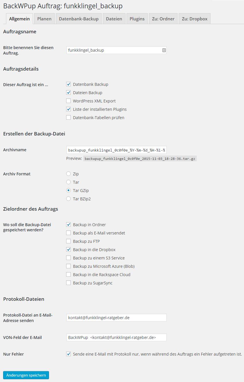 BackWPup - Auftrag - Allgemein