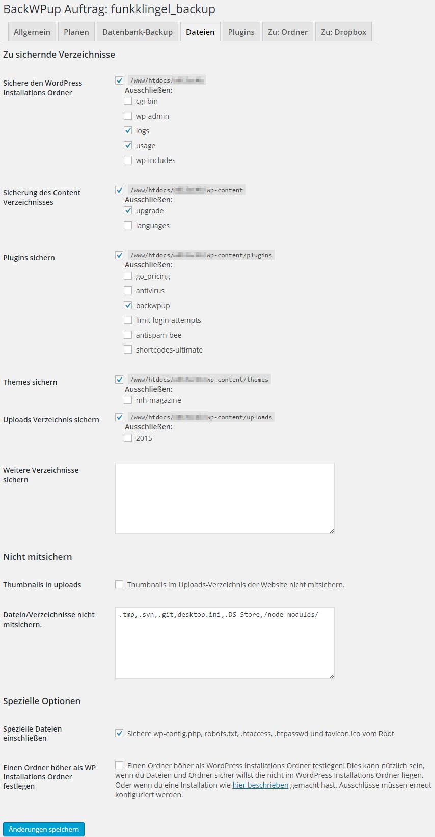 BackWPup - Auftrag - Dateien