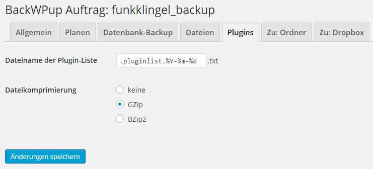 BackWPup - Auftrag - Plugins