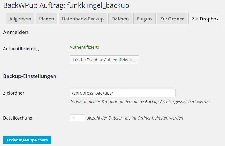 BackWPup - Auftrag - Zu Dropbox