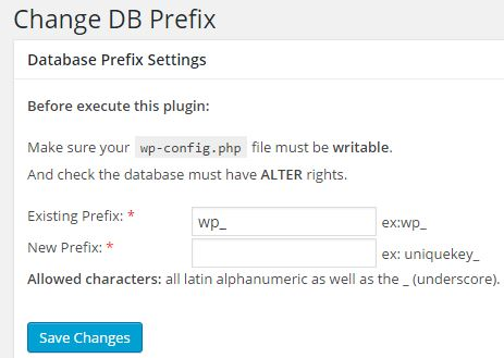 Change DB Prefix - Settings