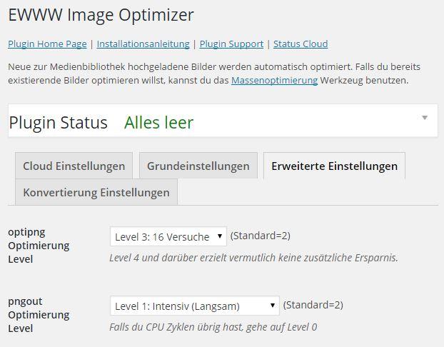 EWWW Image Optimizer - Erweiterte Einstellungen - Optimierung Level