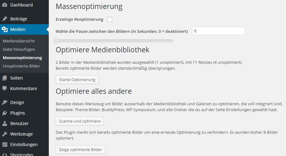 EWWW Image Optimizer - Massenoptimierung