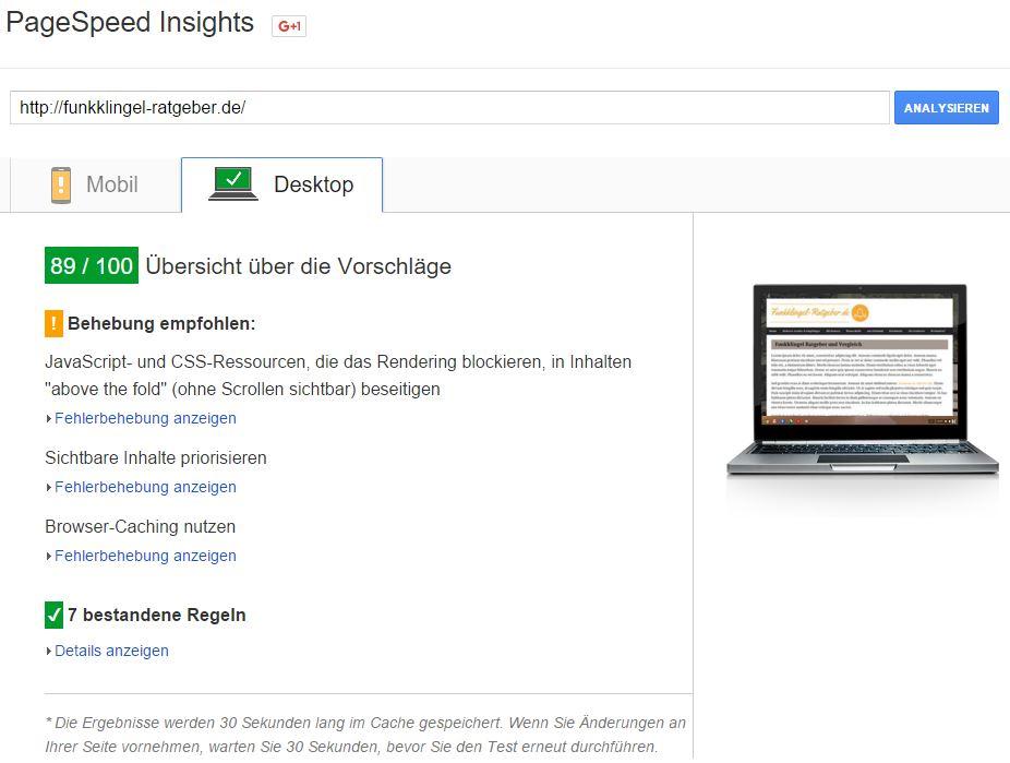 Google Pagespeed - nach der Optimierung