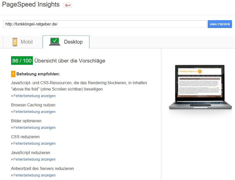 Google Pagespeed - vor der Optimierung