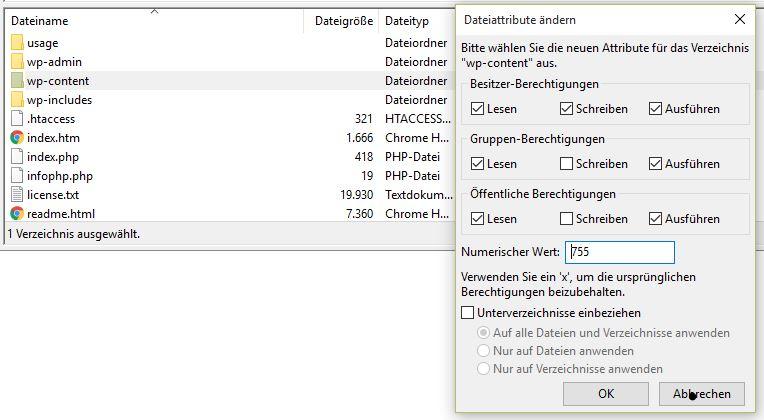 Wordpress - Datei Schreib- und Leserechte