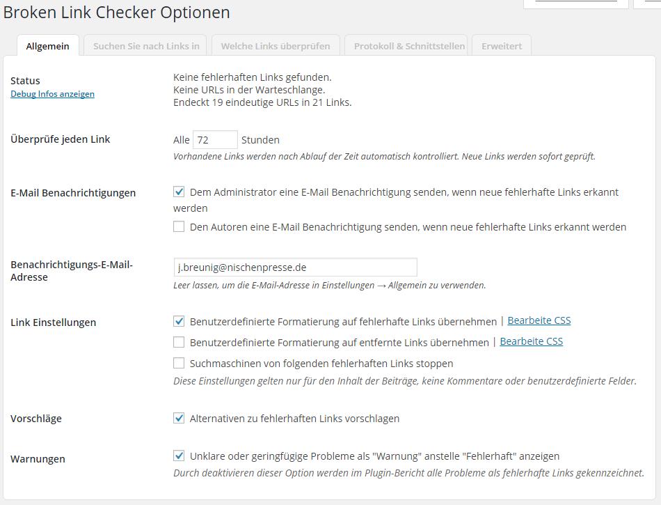 Broken Link Checker Optionen - Allgemein