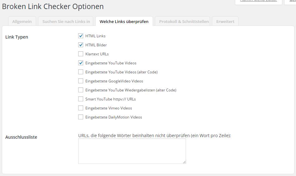 Broken Link Checker Optionen - Welche Links überprüfen