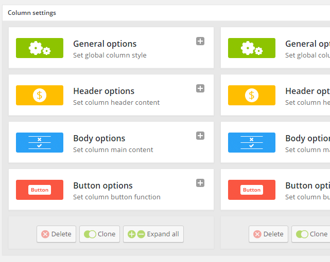 Go - Responsive Pricing & Compare Tables - Column Settings