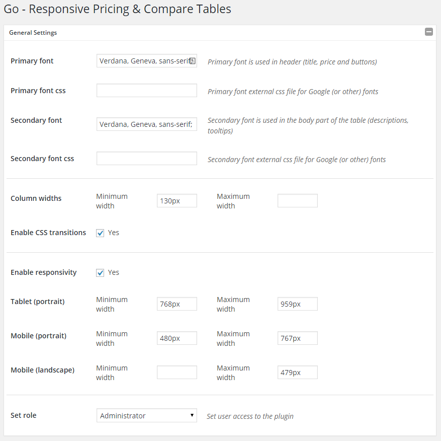 Go - Responsive Pricing & Compare Tables - General Settings