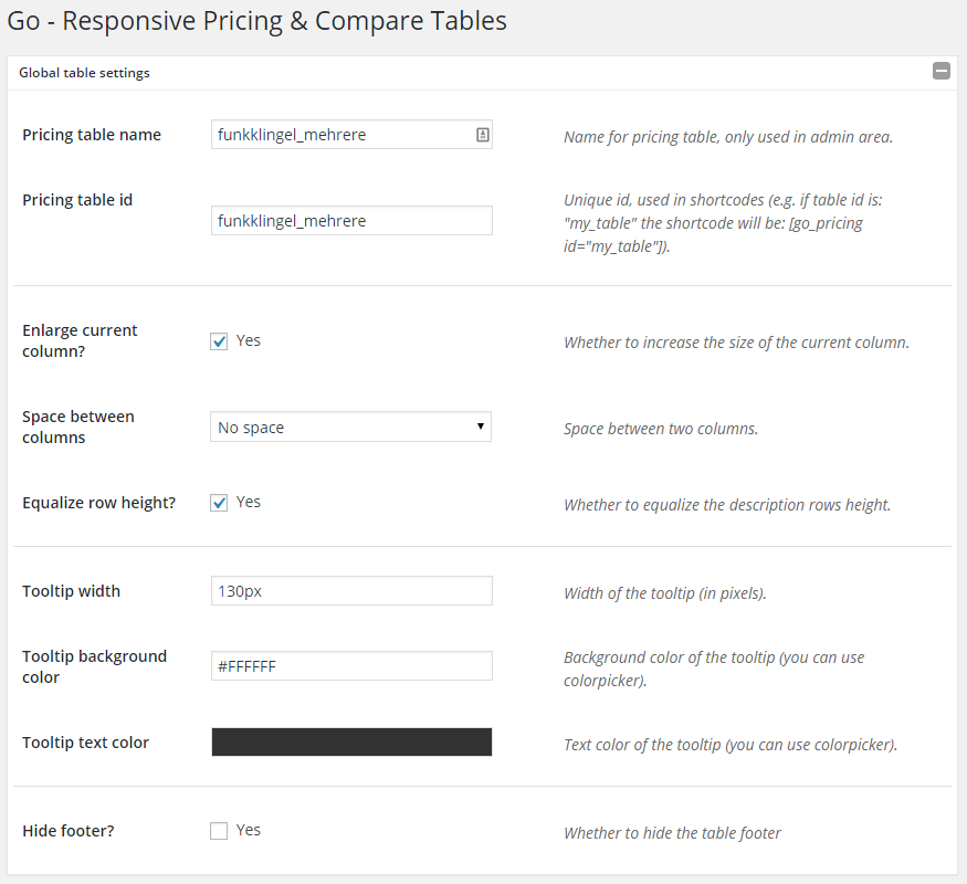 Go - Responsive Pricing & Compare Tables - Global Table Settings