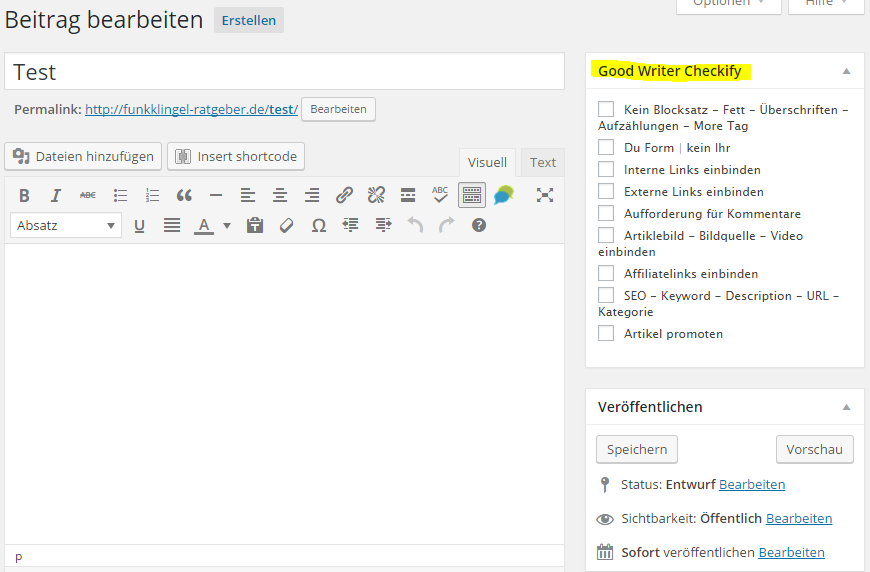 Good Writer Checkify - Backend Widget