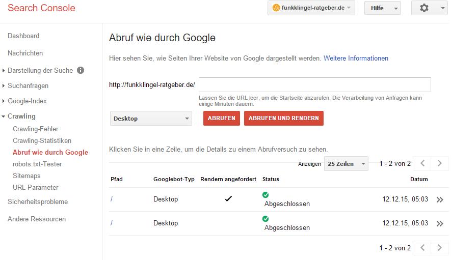 Google Search Console - Abruf wie durch Google