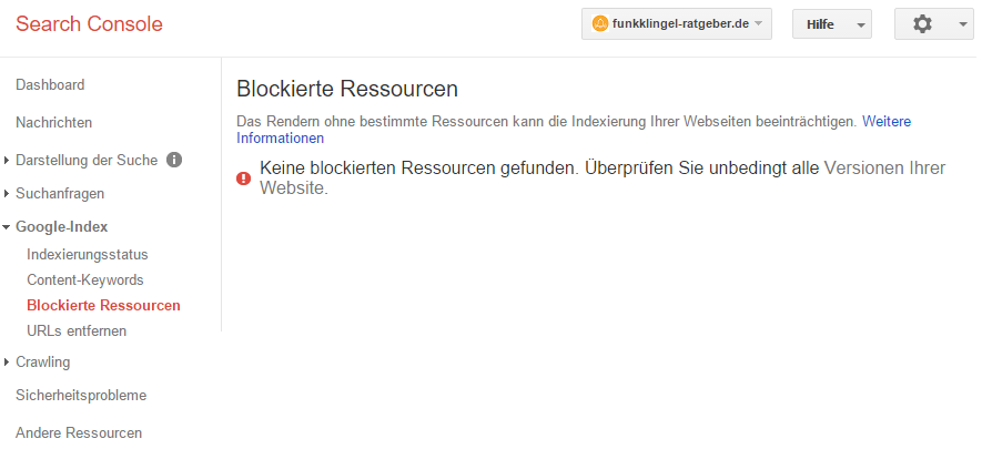 Google Search Console - Blockierte Ressourcen