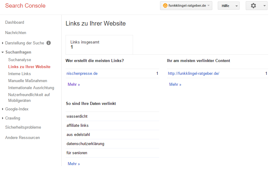 Google Search Console - Links zu Ihrer Website