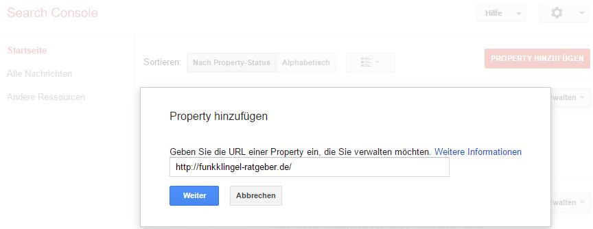 Google Search Console - Property hinzufügen