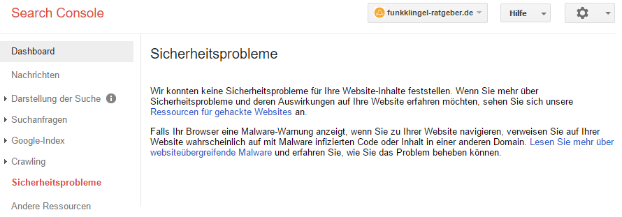Google Search Console - Sicherheitsprobleme