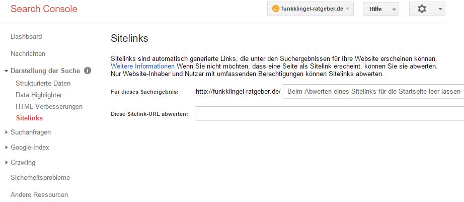 Google Search Console - Sitelinks