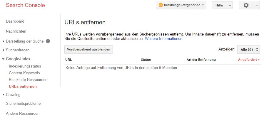 Google Search Console - URLs entfernen