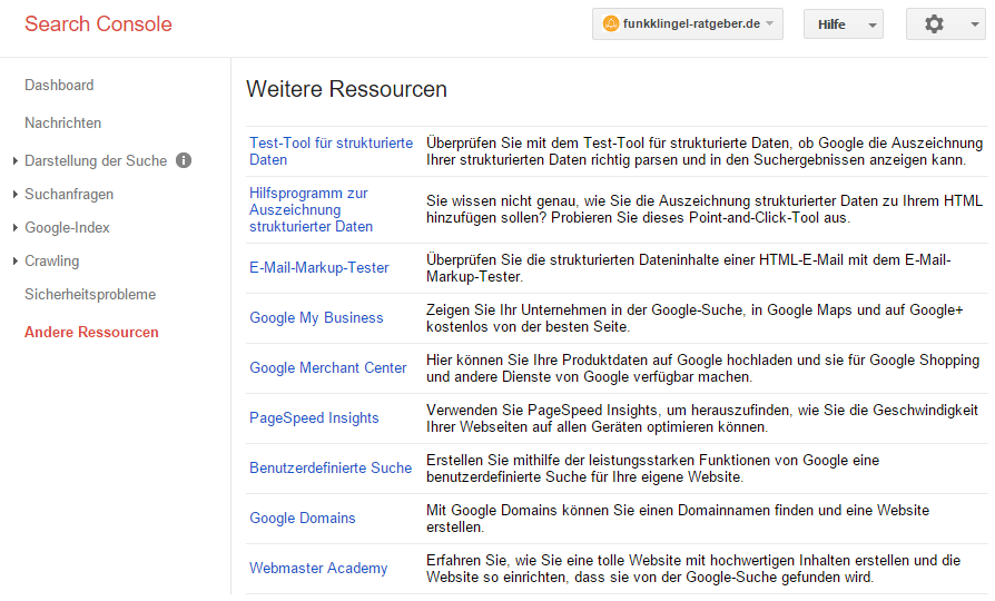 Google Search Console - Weitere Ressourcen