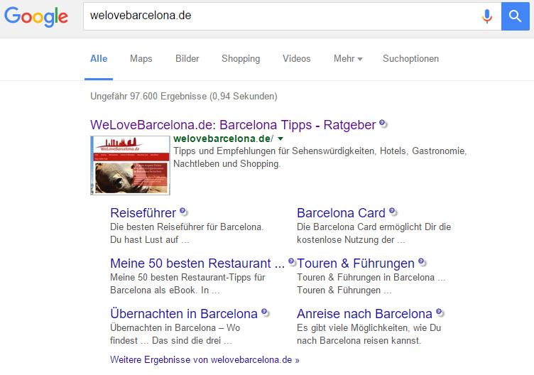Sitelinks in den Suchergebnissen