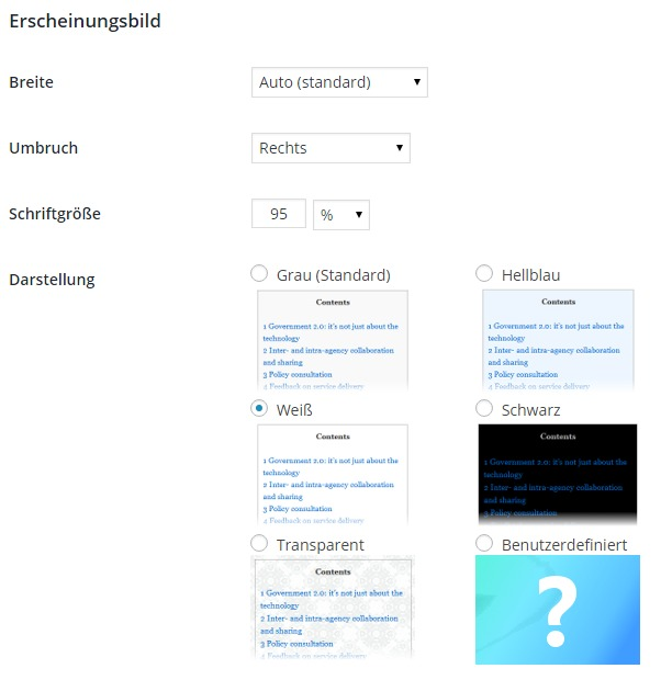 Table of Content Plus - Erscheinungsbild