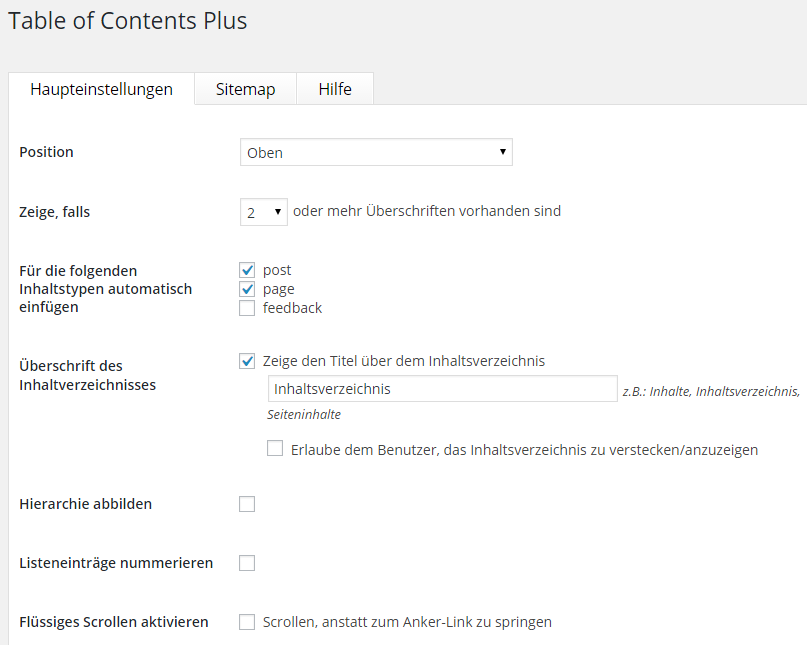 Table of Content Plus - Haupteinstellungen