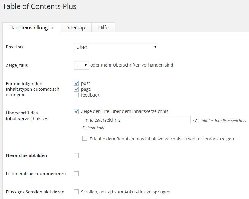 Table of Content Plus - Haupteinstellungen