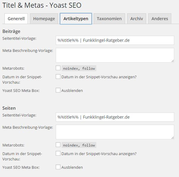 Yoast SEO - Titel & Metas - Artikeltypen
