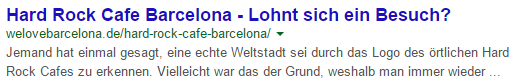 Meta Description mit Fließtext ohne Suchintention