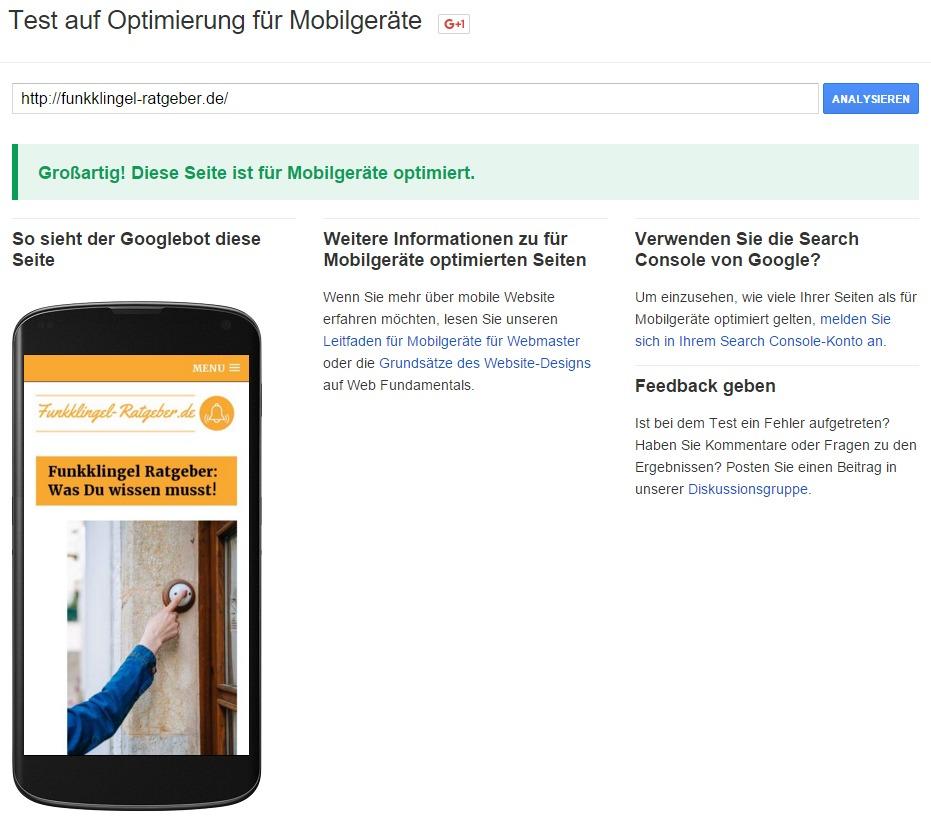 Google - Test auf Optimierung für Mobilgeräte